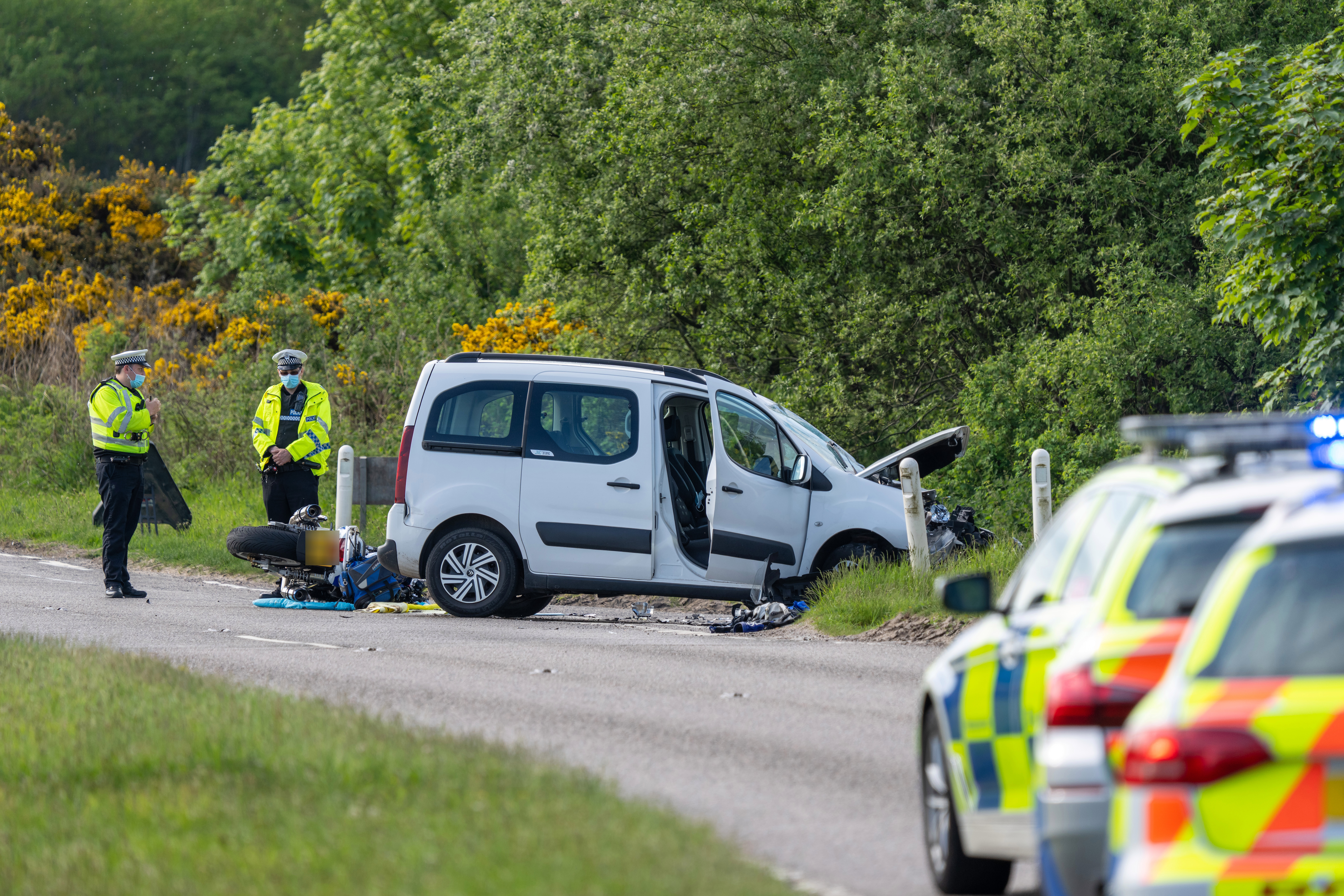 A motorbike and a van collided near Elgin