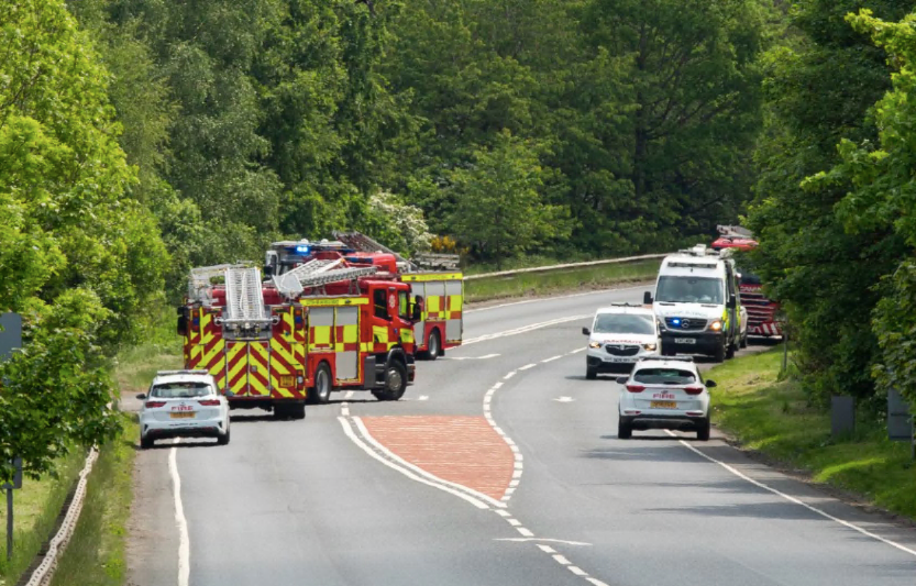 A stretch of the A91 near Stirling has been closed after a lorry veered off the road and down an embankment